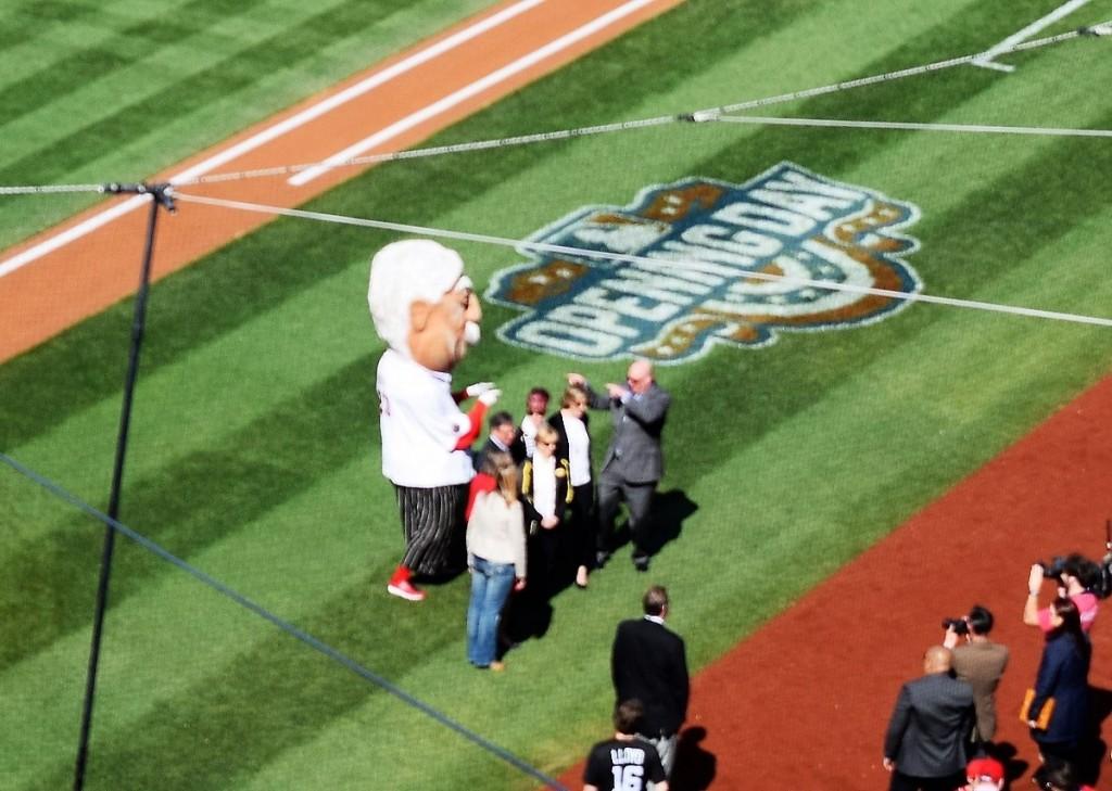 Taft biographer Michael Bromley dancing with the National's Taft mascot